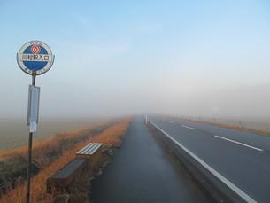 霧がたちこめた道とバス停の写真素材 [FYI00201558]