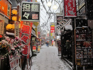 大雪の歓楽街の写真素材 [FYI00201580]