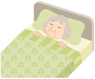 ベッドで眠るおばあさんの写真素材 [FYI00202463]