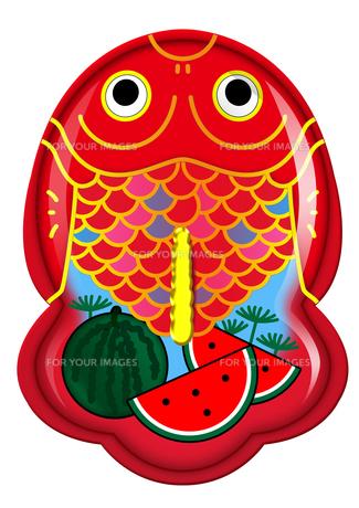 ブリキ金魚のおもちゃシリーズ(スイカ)の写真素材 [FYI00202788]