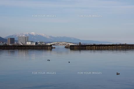 早春の大津港と比良山の写真素材 [FYI00203878]