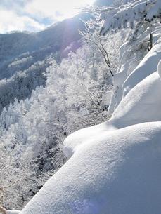 八ヶ岳稜線の樹氷と光の写真素材 [FYI00203962]