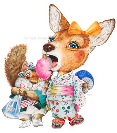 子鹿とリスの夏祭り の写真素材 [FYI00205168]