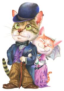 レトロな猫のカップルの写真素材 [FYI00205172]