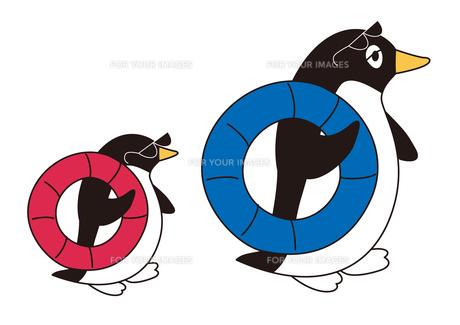 ペンギン親子の海水浴の写真素材 [FYI00205175]