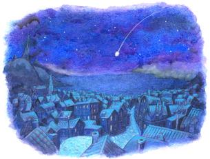 流れ星と静かな町並みの写真素材 [FYI00205190]