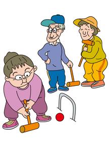 ゲートボールを楽しむ老人の写真素材 [FYI00205224]