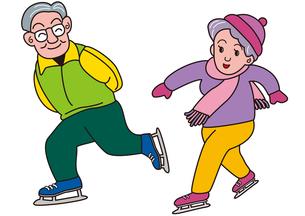 老夫婦のスケートの写真素材 [FYI00205231]