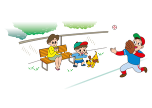 草野球をベンチで応援する親子の素材 [FYI00205235]