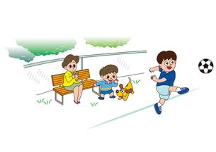 サッカーをベンチで応援する親子の素材 [FYI00205239]