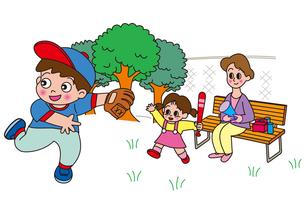 草野球をベンチで応援する母と子の写真素材 [FYI00205249]
