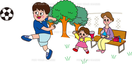 サッカーをベンチで応援する母と子の素材 [FYI00205254]