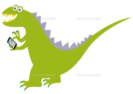 スマホを持った恐竜の写真素材 [FYI00205299]
