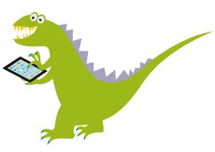 タブレットを持った恐竜の写真素材 [FYI00205300]