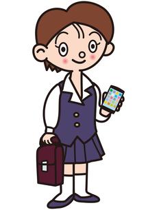 スマホを持った制服の女の子の写真素材 [FYI00205314]