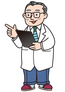 タブレットカルテを使って説明する医者の素材 [FYI00205381]
