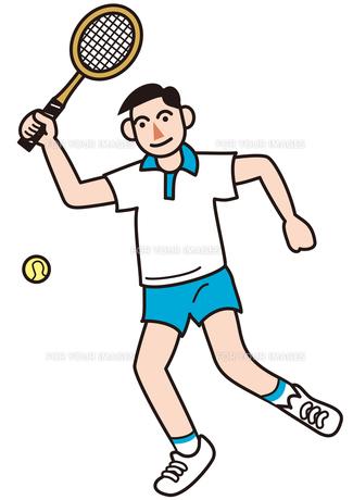 テニスをする男性の写真素材 [FYI00205436]