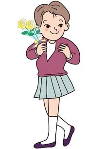 父の日に、白バラの花束を持った少女の写真素材 [FYI00205464]