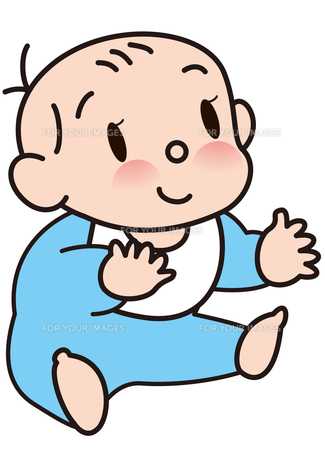 おすわりする、かわいい赤ちゃんの写真素材 [FYI00205546]