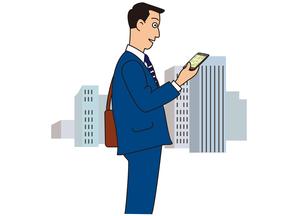 スマホでナビゲーションするビジネスマン の写真素材 [FYI00205575]