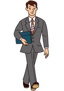 バッグを抱えて歩くビジネスマンの写真素材 [FYI00205588]