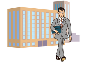 ビルの前を歩くビジネスマンの写真素材 [FYI00205590]