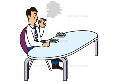 喫煙室でタバコを吸うビジネスマンの写真素材 [FYI00205598]