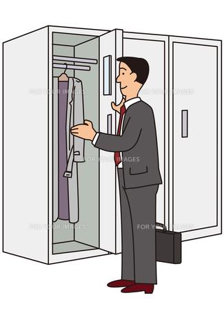 ロッカーを使うビジネスマンの写真素材 [FYI00205599]