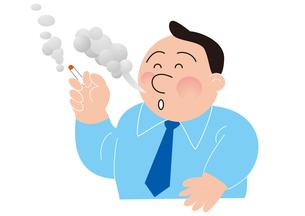 喫煙する太ったビジネスマンの写真素材 [FYI00205621]