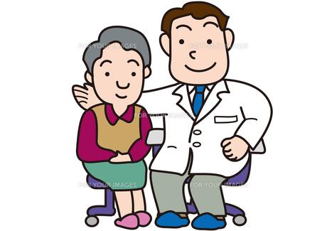 病気治癒を喜ぶ医者と患者の素材 [FYI00205657]