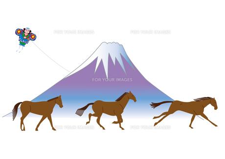 3頭の馬と富士山と奴凧の年賀状の写真素材 [FYI00205682]