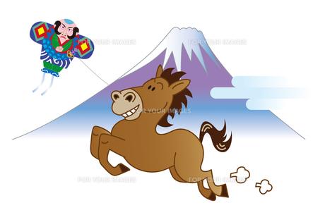 馬と富士山と奴凧の写真素材 [FYI00205684]