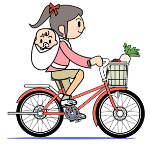 自転車に乗る母 2の写真素材 [FYI00205971]