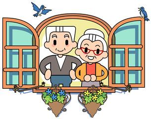 窓 老夫婦の写真素材 [FYI00205991]