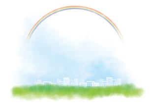 虹が広がる街の写真素材 [FYI00206031]