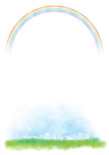 虹が広がる街の写真素材 [FYI00206036]