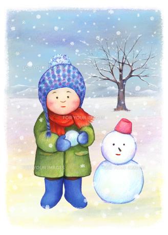 雪遊びをする子供の写真素材 [FYI00206043]