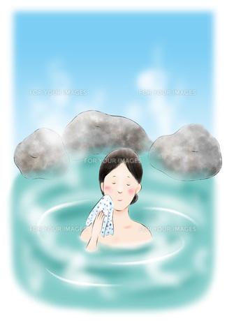 露天風呂に入る女性の写真素材 [FYI00206051]