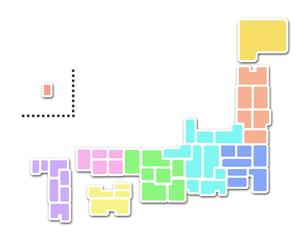 日本地図(白バック・地方色別)の素材 [FYI00206552]