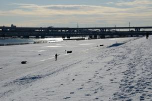 東京雪原(足立区・荒川河川敷)の写真素材 [FYI00207363]