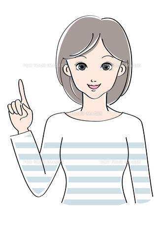 女性 / 指差し / イラスト の素材 [FYI00207522]