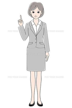 女性 / スーツ / 指差しの素材 [FYI00207556]