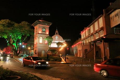 マレーシア オランダ広場の夜景の写真素材 [FYI00208012]