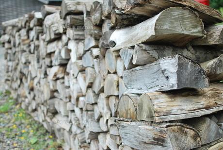 保管している山積みの薪の素材 [FYI00210414]