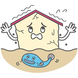 地震で揺れる家の写真素材 [FYI00210453]