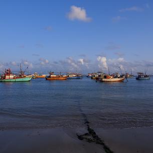 ウェリガマ湾に浮かぶ漁船の写真素材 [FYI00213050]