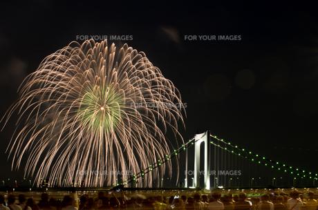 花火とレインボーブリッジの写真素材 [FYI00213206]