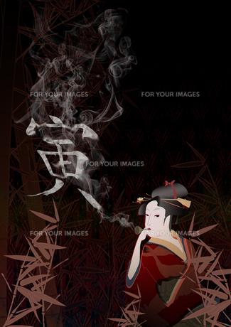 着物の女性/正月寅年の写真素材 [FYI00213411]