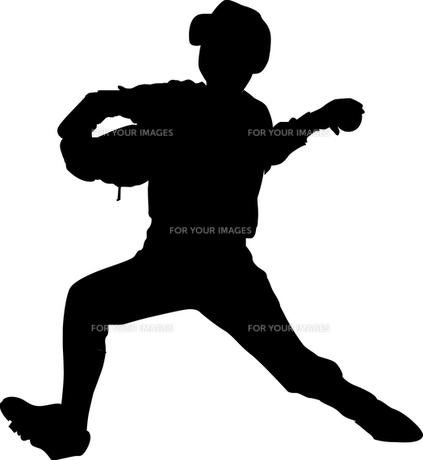 野球少年シルエットの写真素材 [FYI00213730]