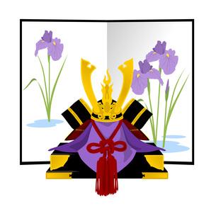 兜と菖蒲の花屏風の写真素材 [FYI00213884]